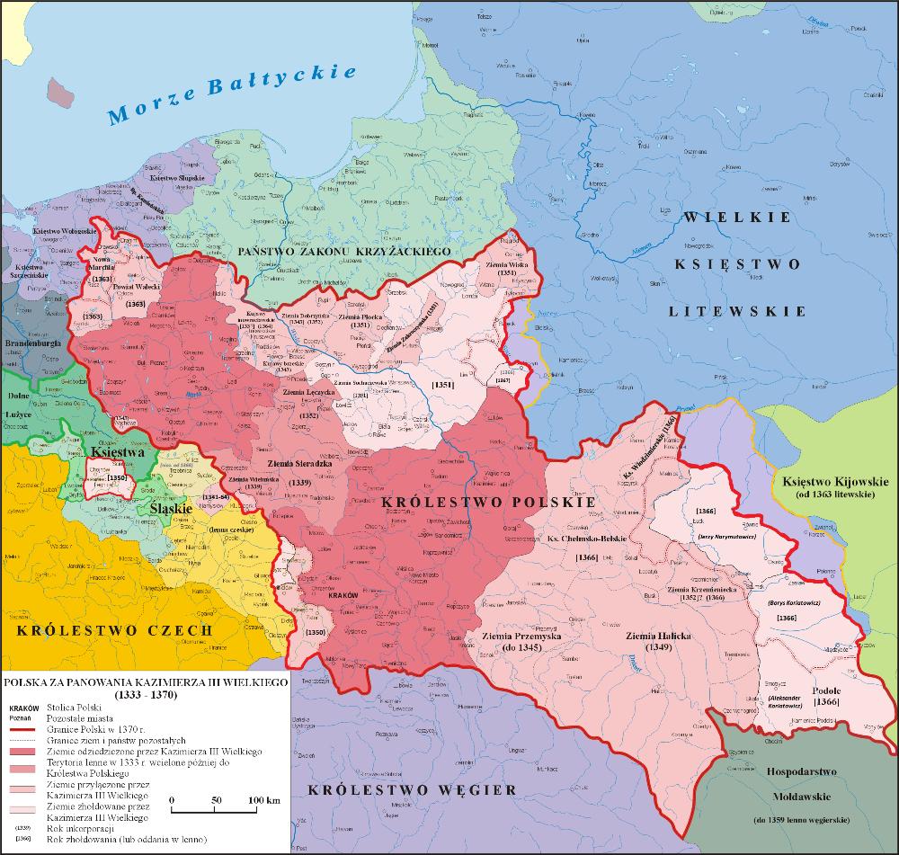 Mapa Polski za panowania Kazimierza Wielkiego lata 1333-1370