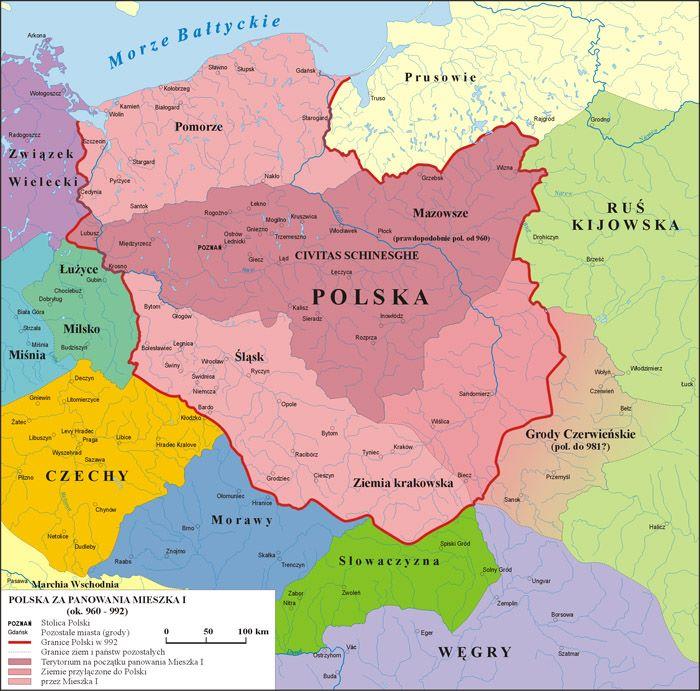 Mapa Polski za panowania Mieszko I