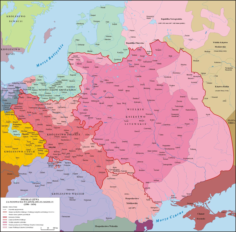 Mapa Polski za panowania Władysława Jagiełło - lata 1386 - 1434
