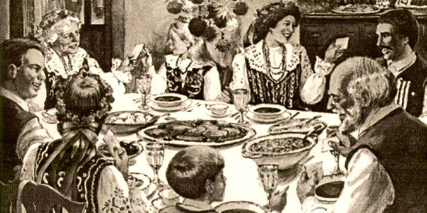 Krakowska rodzina podczas wieczerzy wigilijnej