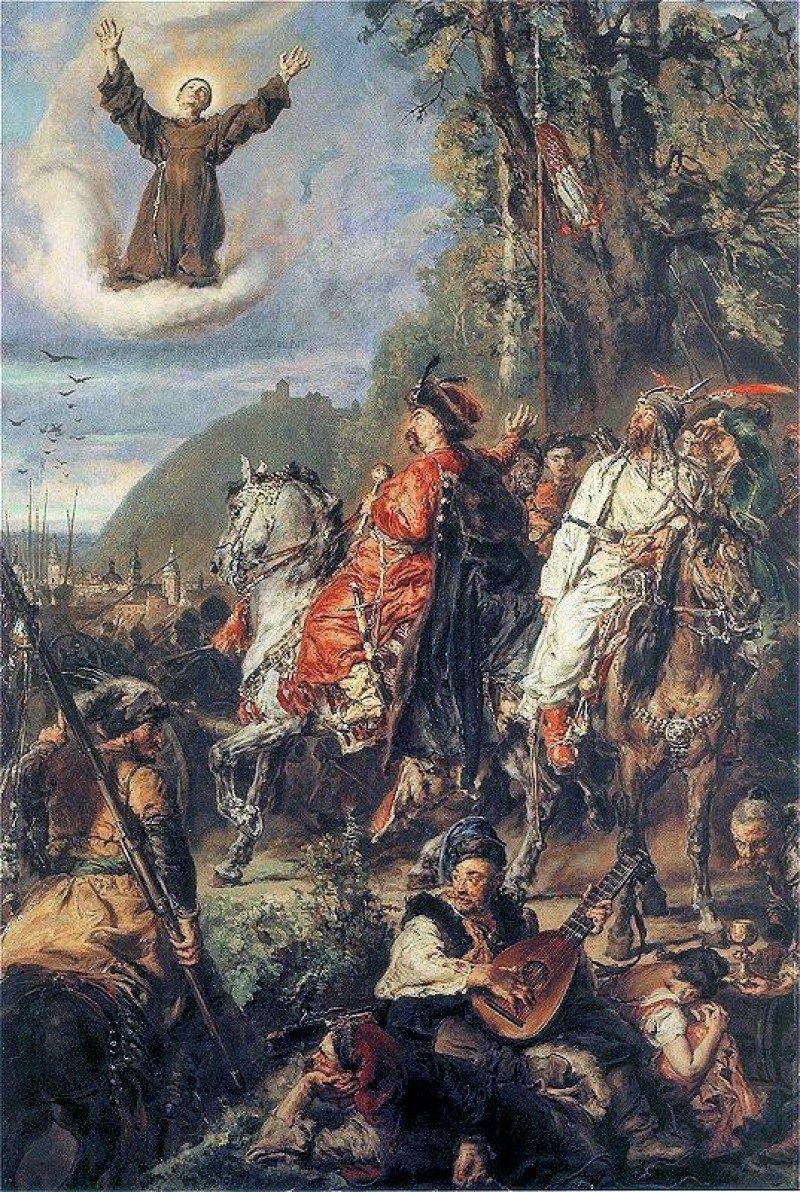 Bohdan Chmielnicki i Tuhaj-bej pod Lwowem (na obłoku św. Jan z Dukli), obraz Jana Matejki