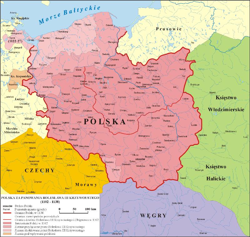 Mapa Polski za panowania Bolesława Krzywoustego - lata 1102-1138