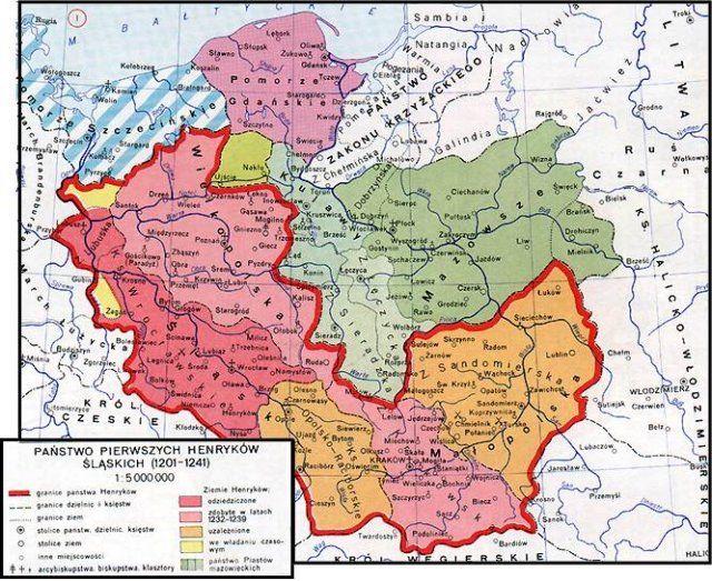 Mapa Polski za panowania Henryków Śląskich - lata 1201-1241