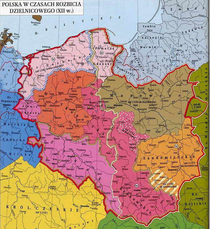 Mapa Polski - rozbicie dzielnicowe 1138