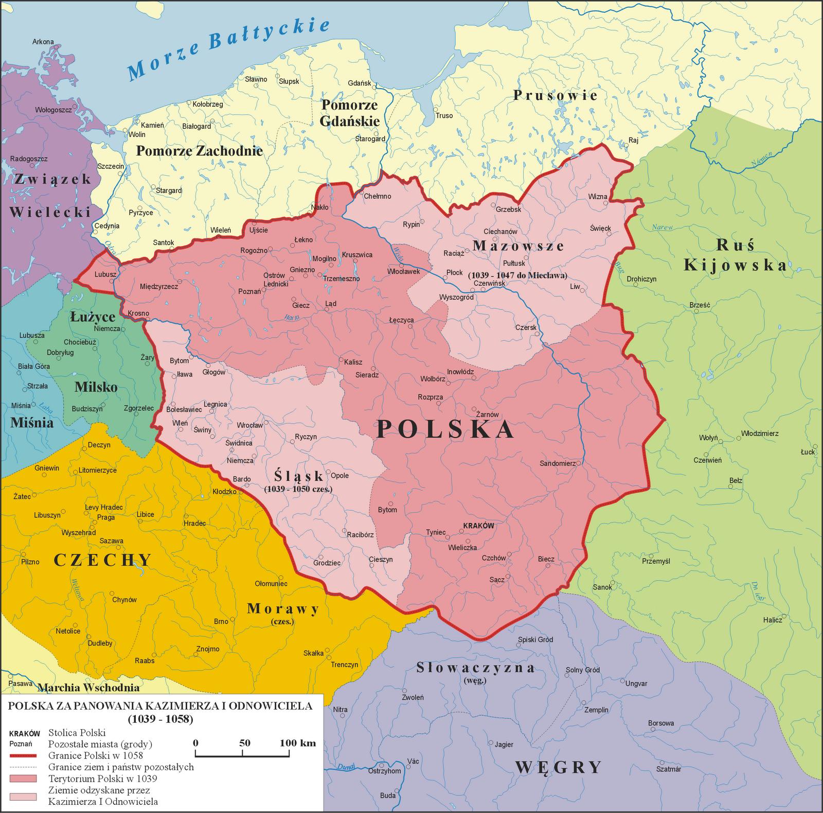 Mapa Polski za panowania Kazimierza Odnowiciela