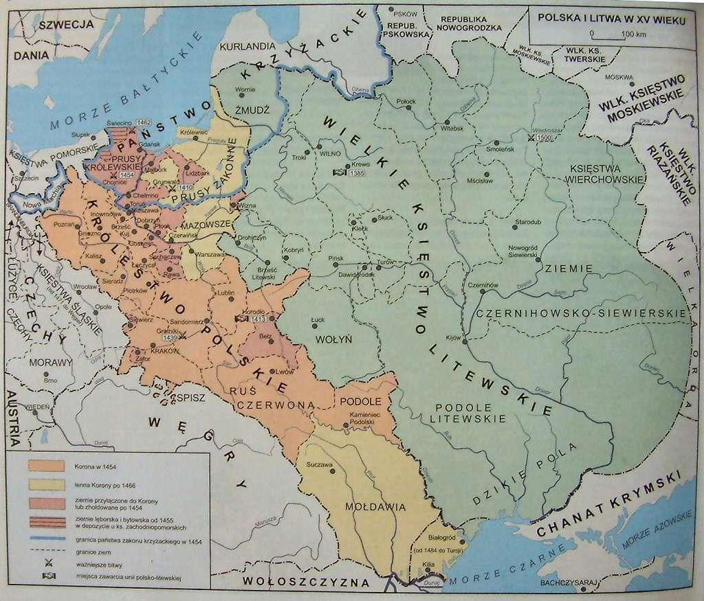 Mapa Polski za panowania Dynastii Jagiellonów - w XV wieku