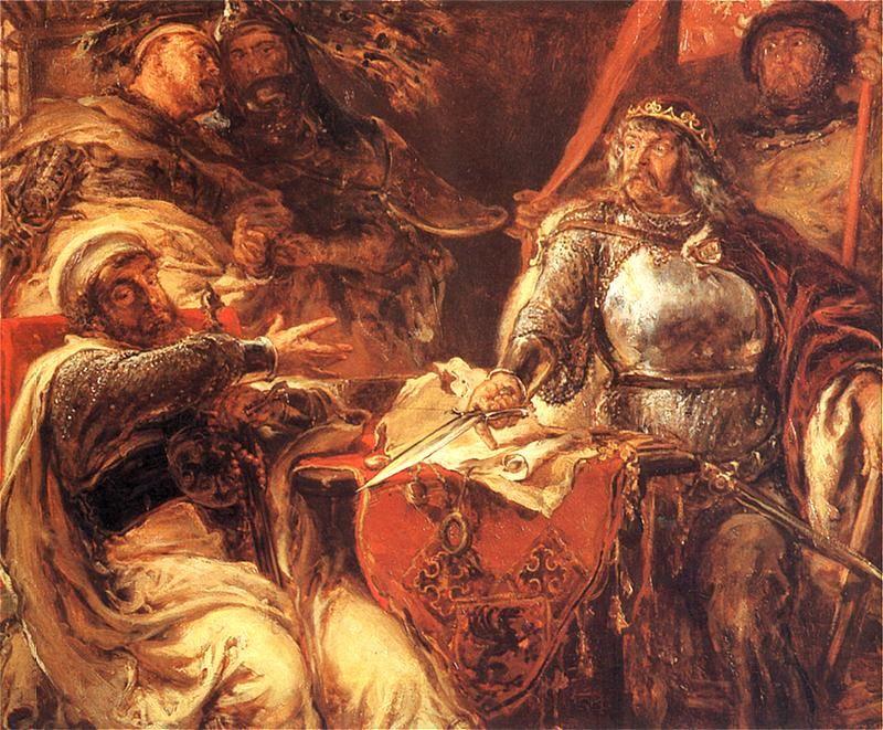 Władysław Łokietek zrywający układy z Krzyżakami w Brześciu Kujawskim R.P. 1325 - obraz Jana Matejko