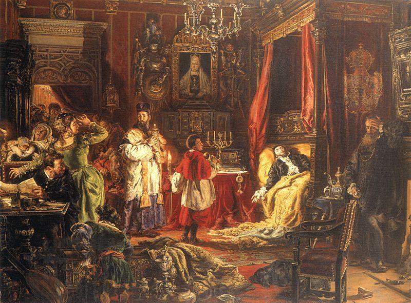 Śmierć Zygmunta Augusta w Knyszynie R.P. 1572 - obraz Jana Matejko
