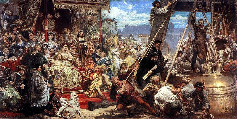 Zawieszenie dzwonu Zygmunta na wieży katedry w R.P. 1521 w Krakowie - obraz Jana Matejko