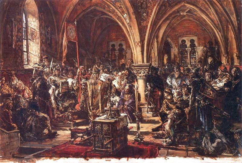 W Łęczycy pierwszy sejm. Spisanie praw. Ukrócenie rozbojów. R.P. 1182.- obraz Jana Matejko